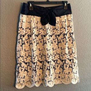 Anthropologie white and black lace skirt
